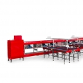 A sorting and packing line with multi level packing table for fruits and vegetables